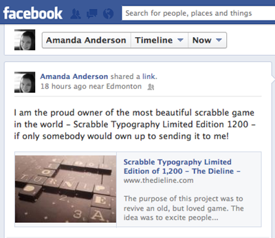 Facebook Post about Scrabble Typography Game